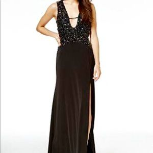 AS U WISH Juniors Plunge Beaded Formal Dress EUC